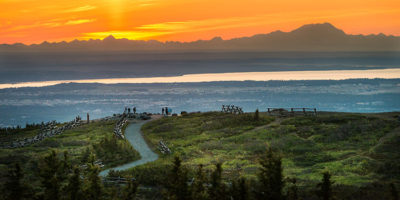 sunset at glen alps with silhouette of denali - 4 hour photo tour