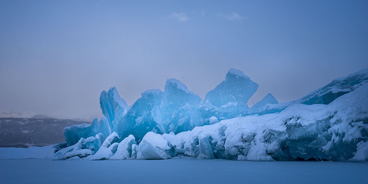 pressure ridge on toe of matanuska glacier - photography glaciers in winter