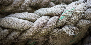close up of frayed ship rope - seldovia, alaska