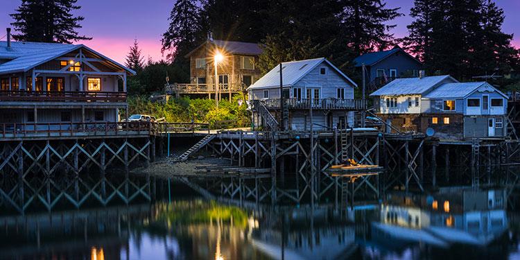 historic boardwalk at twilight - seldovia, alaska