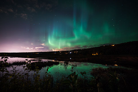 aurora over potter marsh - northern lights photo tour