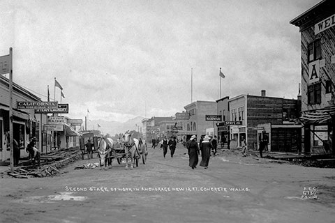 pedestrian scene in black and white of anchorage 4th avenue in 1915