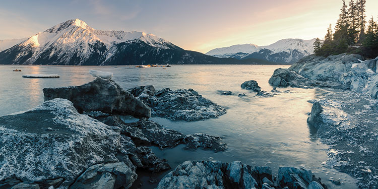 incoming tide at sunset on turnagain arm, early spring - top 30 alaska photography subjects