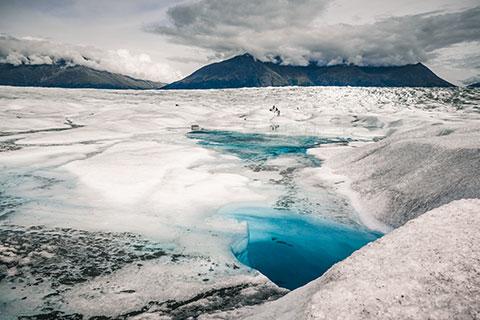 blue blue glacial pool - knik glacier