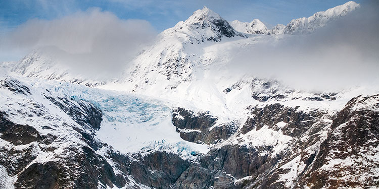 hanging glacier in the chugach mountain - helicopter photography tour