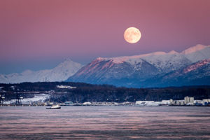 winter moonrise over cook inlet and the port of anchorage - alaska photography tours
