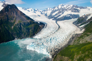 aerial view of glacier in prince william sound - alaska photography tours