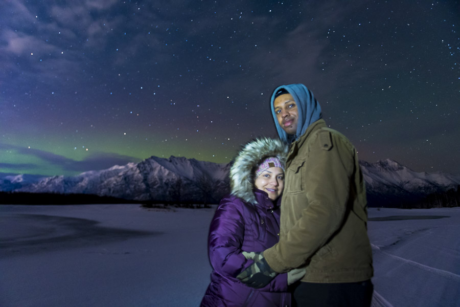 Couple portrait under aurora borealis for best of 2020